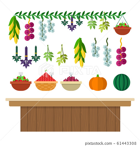 Wooden counter with vegetables, herbs and berries in a basket vector flat isolated 61443308