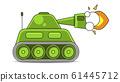 Vector Illustration Of A Battle Tank Aiming A Gun 61445712