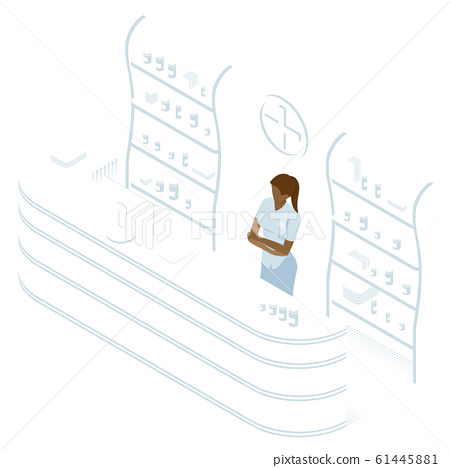 Isometric Pharmacy Store and Doctor pharmacist. Vector 61445881