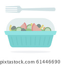 Salad in a plastic container with a fork 61446690