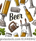 Seamless pattern beer tap, class, can, bottle and 61446942