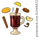 Mulled wine with glass of drink and ingredients. 61446972