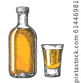 Glass and botlle of tequila. Vector illustration 61446981