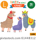 Letter L-Mega big set.Cute vector alphabet with family of animals in cartoon style. 61448312