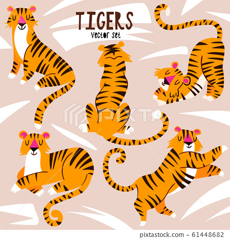 Vector set of cartoon tigers. Trendy hand drawn illustration. 61448682
