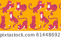 Seamless pattern with cute cartoon leopards. Vector hand draw design 61448692
