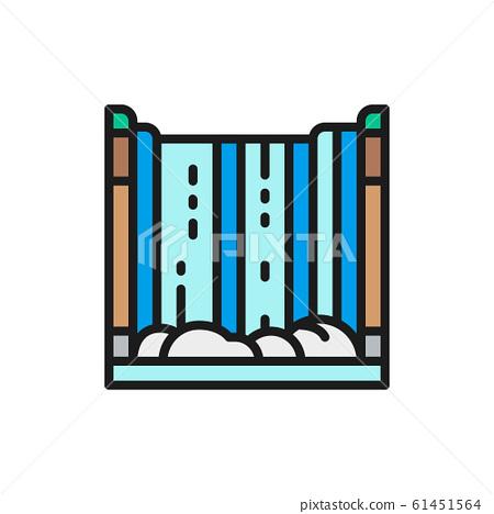 Niagara Falls, waterfall flat color line icon. 61451564
