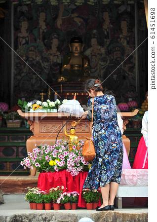 부처님오신날 한국 위봉사 관불 의식  61451698