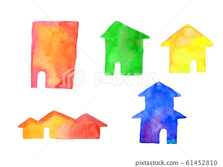 House house house house silhouette watercolor illustration 61452810