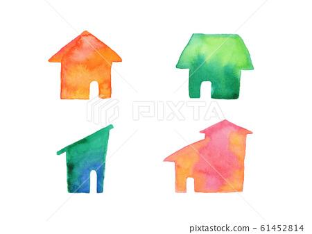 房屋房屋房屋房屋剪影水彩插圖 61452814