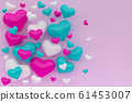 3d rendering illustartion of color heart on pink background 61453007