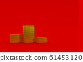 3d rendering illustration of coin on red background 61453120