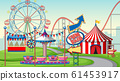 Scene with ferris wheel and big circus tent in the 61453917