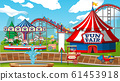 Scene with roller coaster and carousel in the fair 61453918