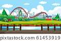 Scene with roller coaster and viking ship in the 61453919