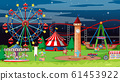 Scene with many circus rides in the park at night 61453922