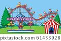 Background scene with happy monkeys riding rides 61453928