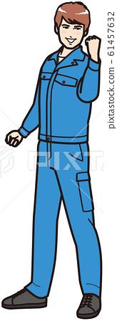 穿著工作服的人在做豬皮(全身) 61457632