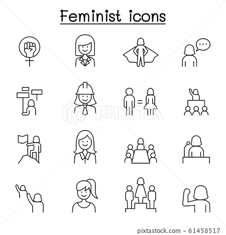 Female, woman, feminist, women' day icons set in thin line style 61458517