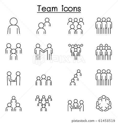 Teamwork, team, people icons set in thin line 61458519