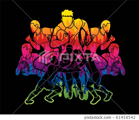 Group of Rugby players action cartoon graphic vector. 61458542