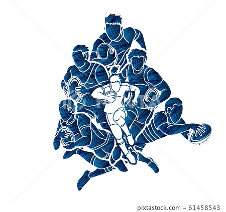 Group of Rugby players action cartoon graphic vector. 61458543
