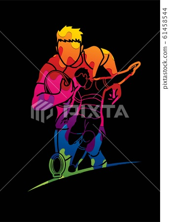 Group of Rugby players action cartoon graphic vector. 61458544