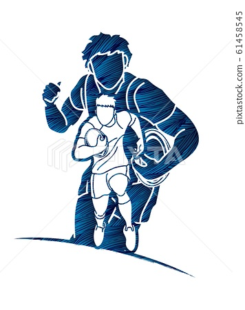 Group of Rugby players action cartoon graphic vector. 61458545