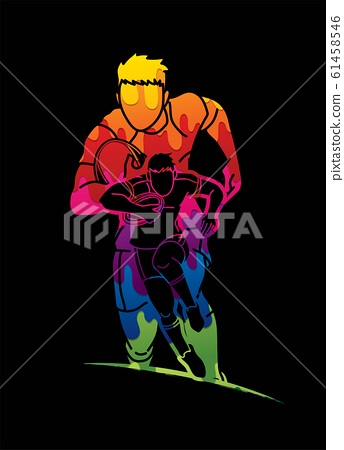 Group of Rugby players action cartoon graphic vector. 61458546