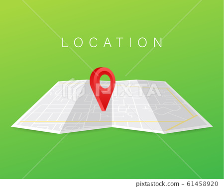 GPS navigator pointer on city map, from place to 61458920