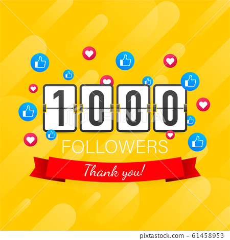 1000 followers, Thank You, social sites post. 61458953