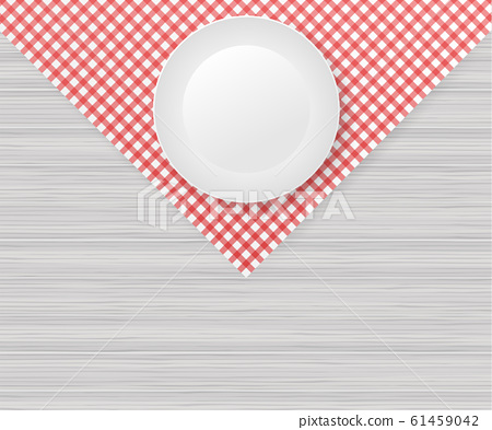 Red corner tablecloth on white wood table. Vector 61459042