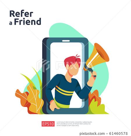 refer a friend illustration concept. affiliate 61460578