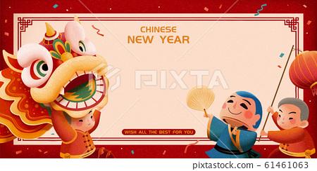 New year lion dance banner 61461063