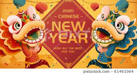 New year lion dance illustration 61461064
