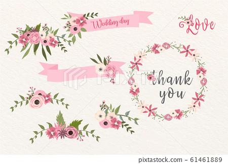 邀請與浪漫的花卉裝飾品 61461889