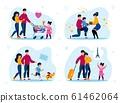 Happy Parenthood, Childhood Scenes Flat Vector Set 61462064