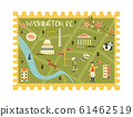 Postal stamp with Washington city map and symbols 61462519