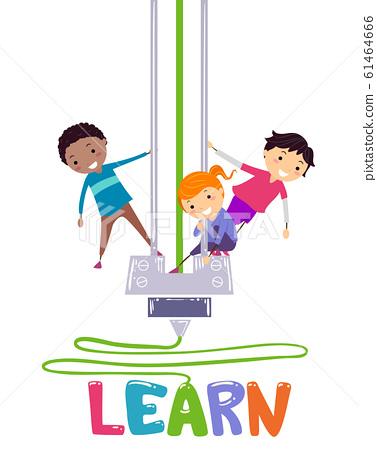 Stickman Kids Printer Learn Lettering Illustration 61464666