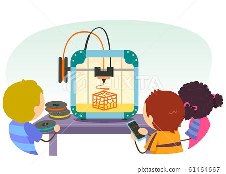 Stickman Kids Printer Play 3D Illustration 61464667