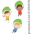 Kids Jump Leaf Parachute Illustration 61464676
