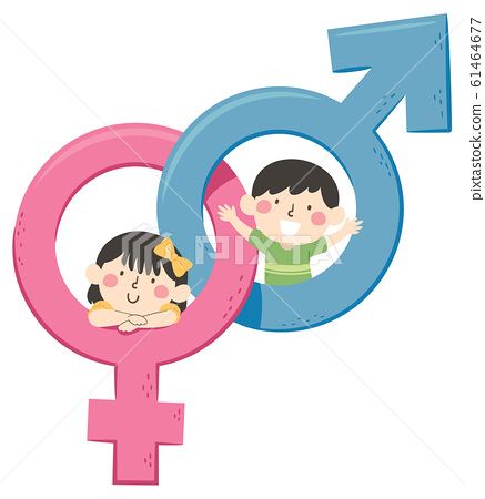 Kids Male Female Symbols Illustration 61464677