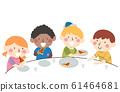Kids Divide Pizza Equal Share Illustration 61464681