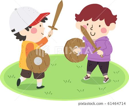 Kids Play Wooden Sword Shield Boys Illustration 61464714