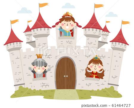 Kids Medieval Castle Windows Illustration 61464727