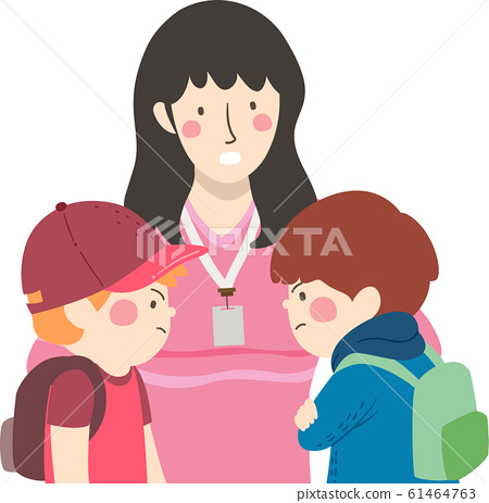 Kids Boys Student Conflict Teacher Illustration 61464763