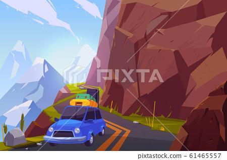 Traveling on car cartoon background 61465557