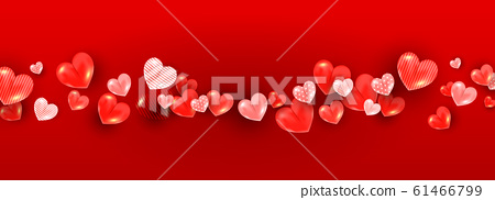 Realistic valentines day concept with soft red 3d 61466799