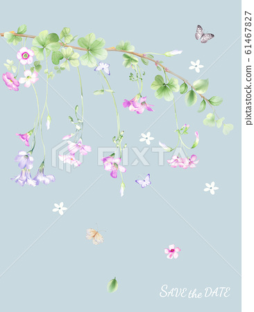 水彩清新小花和邀請卡設計 61467827