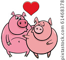 valentine card with pig characters in love 61468378